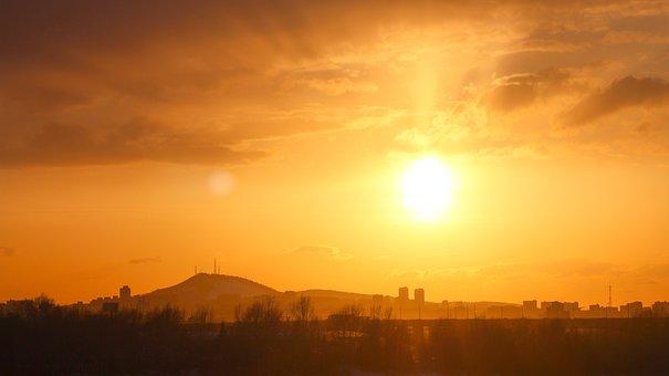 Sunset, Sun, Town, Silhouette, Sky, Clouds, Sunlight