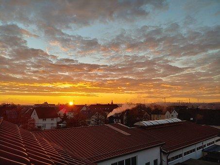 Sunrise, City, Houses, Sky, Clouds, Sun, Sunlight