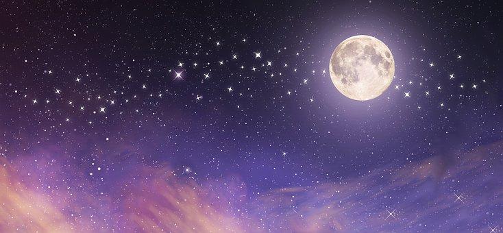 Moon, Stars, Sky, Space, Clouds, Lunar