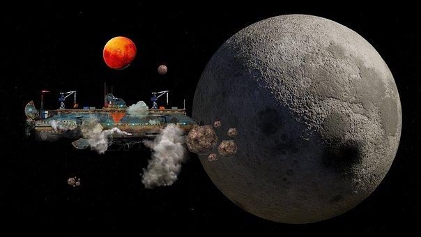 Airship, Spaceship, Earth, Moon, Space, Steampunk