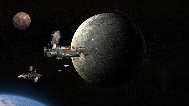 Air Ships, Spaceship, Steampunk, Moon, Space, Fantasy