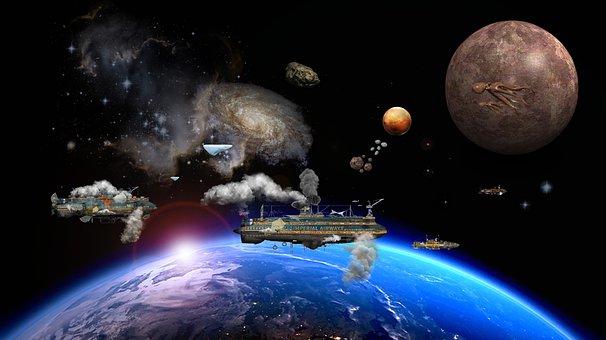 Air Ships, Spaceship, Space, Steampunk, Planet, Monde