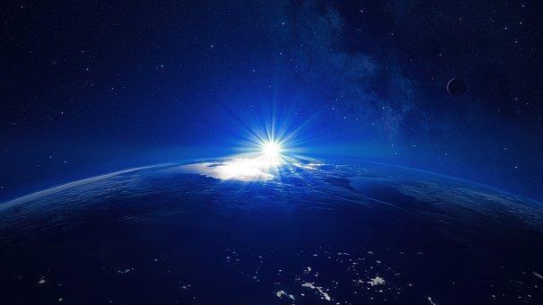 Space, Earth, Moon, Sun, Stars, Planet, World