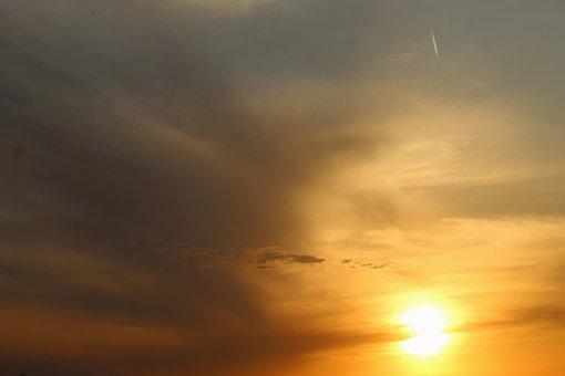 Sunset, Sun, Sky, Clouds, Orange Sky, Sunlight