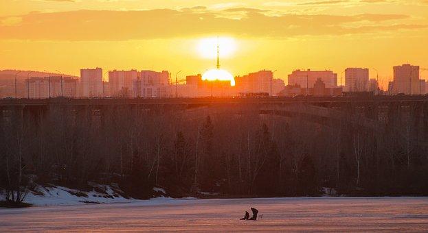Sunset, City, River, Bridge, Sun, Sunlight, Sky, Clouds