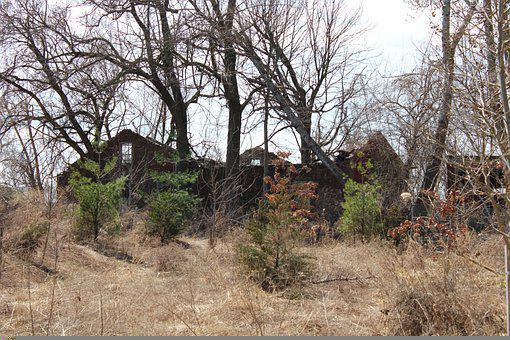 Abandoned House, Ruin, Trees, Grass, Building