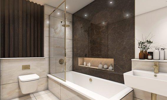 Bathroom, Bathtub, 3d Rendering, Interior Design