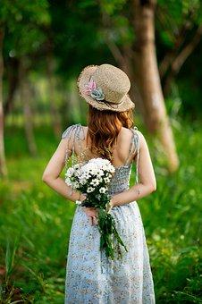 Woma, Flowers, Bouquet, Dress, Hat, Spring, Romantic