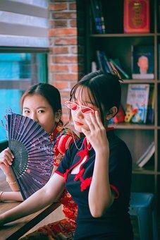 Cheongsam, Fashion, Women, Write, Hand Fan, Model