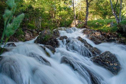 Waterfall, Rocks, River, Flow, Water, Nature, Mountain