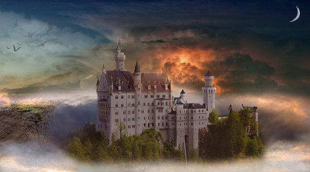 Castle, Fortress, Fog, Haze, Fantasy, Landscape