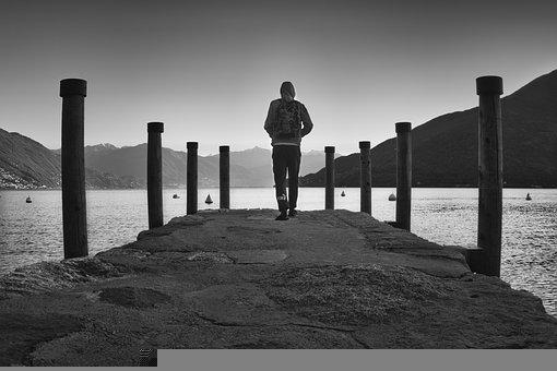 Man, Person, Pier, Lake, Mountains, Fog, Gloomy