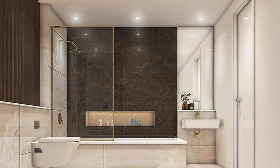 Bathroom, House, Render, Architecture, Residential, 3d