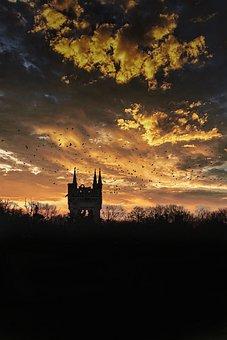 Sunset, Castle, Meadow, Silhouette, Clouds, Sky