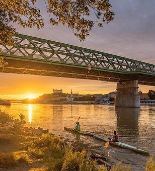Canoeing, River, Sunset, Training, Paddling, Rowing