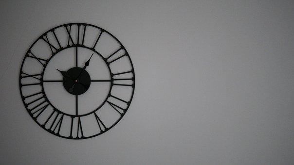 Clock, Wall, Wall Mounted, Time, Metal, Roman, Digits