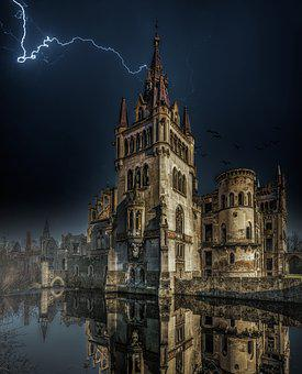 Castle, Lightning, Fantasy, Lake, Water, Reflection