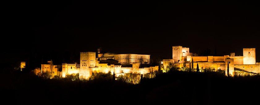 Evening, Buildings, Night Lights, Alhambra, Spain, Dark