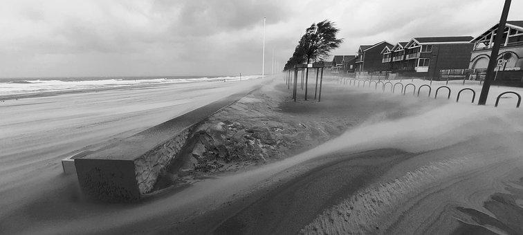 Soulac, Ocean, Black And White, Storm, Sand, Wind