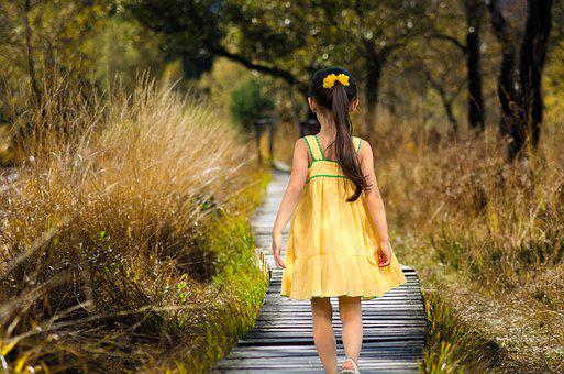 Girl, Path, Meadow, Grass, Park, Child, Kid, Young