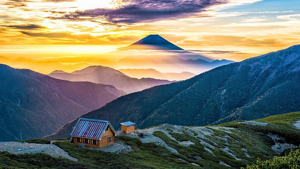 Mountains, Hut, Sunset, Mountain Ranges, Mountain Hut