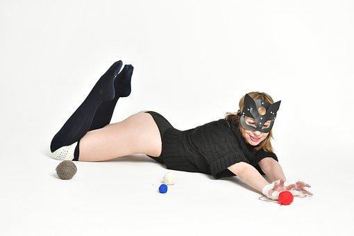 Cat, Woman, Stockings, Mask, Girl, Tangle, Thread