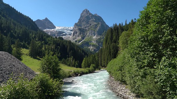 River, Trees, Mountains, Valley, Stream, Water, Forest