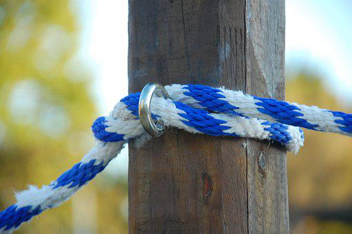 Rope, Post, Wood, Cord, Attachment, Weathered, Old