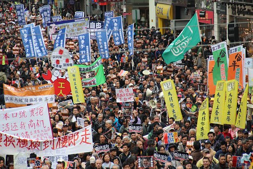 Hong Kong, China, New Year March, People, Banners