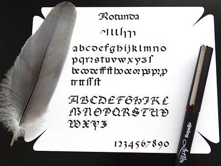 Calligraphy, Fountain Pen, Text, Write, White, Feather
