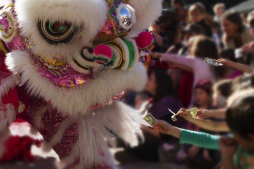 Chinese New Year, Dragon, Money, Children