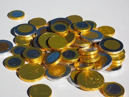 Money, Coins, Chocolate Taler, Chocolate Coins, Euros