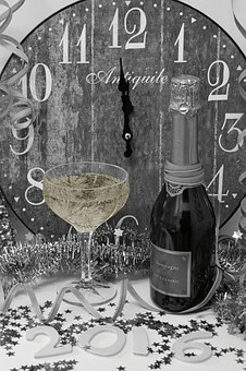 New Year's Eve, New Year's Greetings, Clock, Champagne