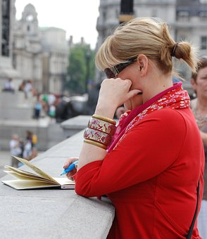 Woman, Person, Thinking, Diary, Artist, Sketching
