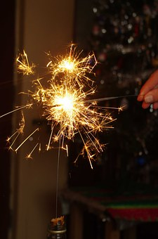 Sparkler, Glow, Light, Spark, New Year Day, New Year