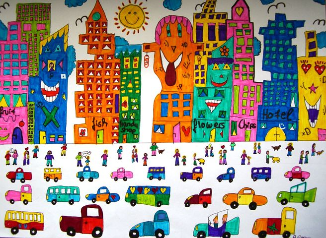 Image, Painted, Autos, City, Skyscrapers, Colorful