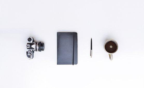 Still Life, Camera, Notebook, Pen, Cup, Mug, Coffee
