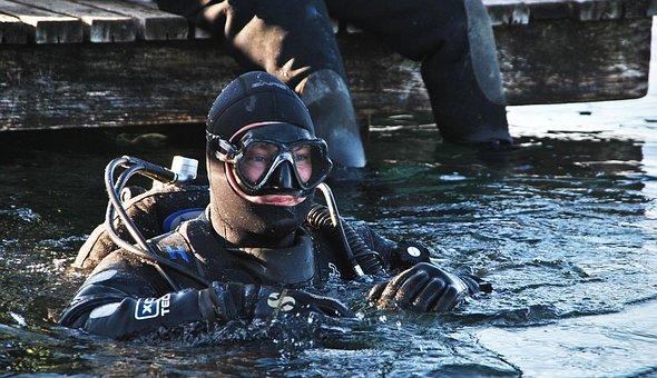 Scuba Diving, New Year, Slovenia, Velenje Lake, Lake