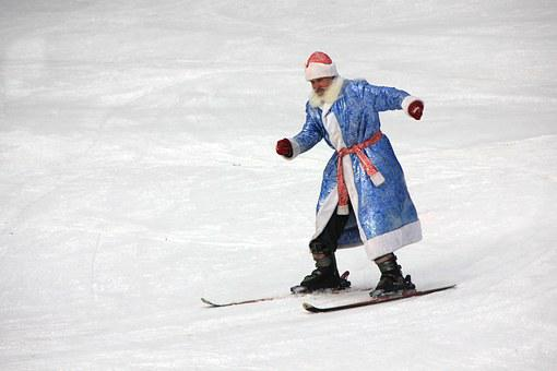 Santa Claus, Grandfather, New Year's Eve, Skiing