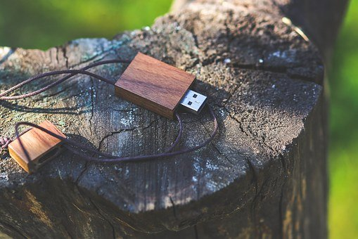Usb, Flash, Drive, Pen, Wood, Wooden, Natural, Vintage