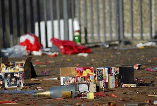 New Year's Day, Firecrackers, Waste, Pollution