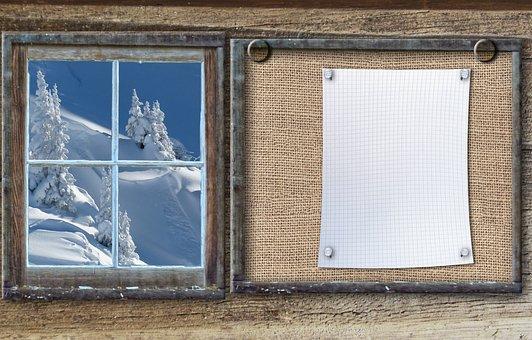 Bulletin Board, Winter Sports, Winter Forest, Wood