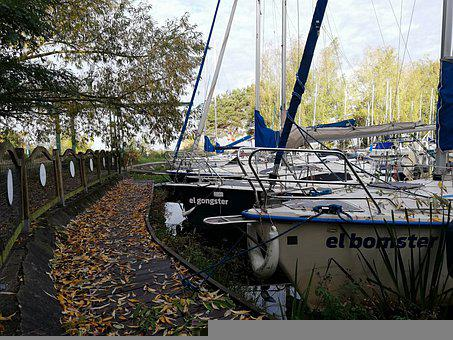 Yachts, Port, Autumn, Leaves, Footpath, Boats, Mooring