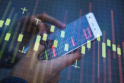 Smartphone, Businessman, Chart, Graphic, Bar, Symbol