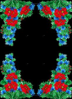 Border, Flowers, Watercolor, Frame, Cornflower, Poppy