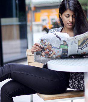 Woman, Reading, Newspaper, Seat, Table, Human, Seating