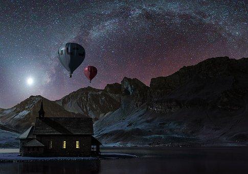 Collage, Sky, Cosmos, Summer, Astronomy, Fog, Mystic
