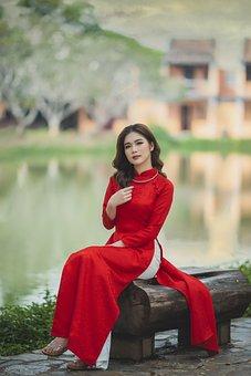 Woman, Asian, Model, Dress, Tradiitonal Dress, Ao Dai