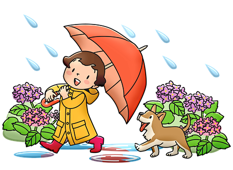 Girl, Dog, Flowers, Umbrella, Raincoat, Boots, Rain