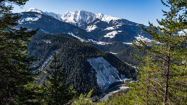 Mountain, Trees, Landscape, River, Snow, Snow Capped